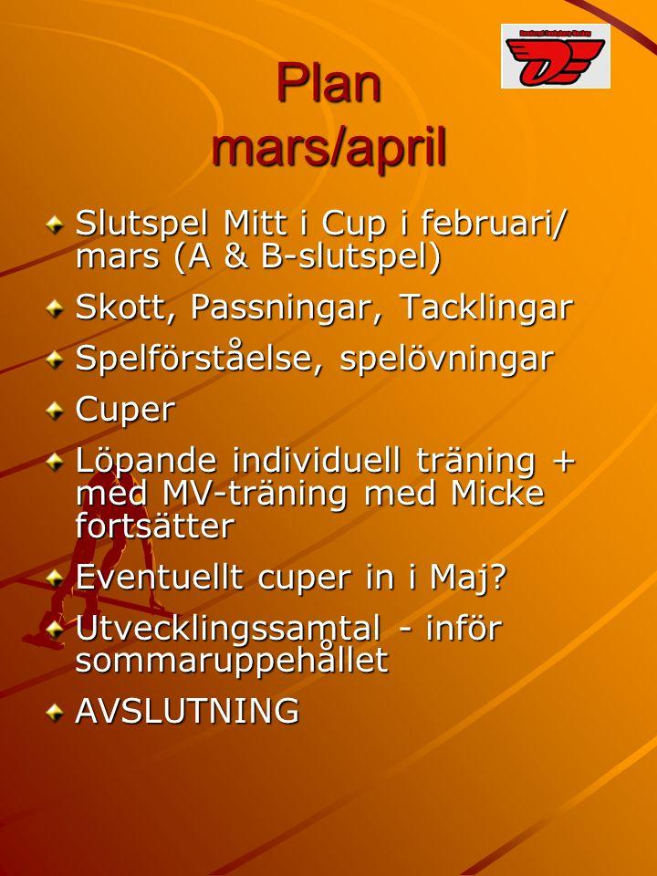 Plan mars/april Slutspel Mitt i Cup i februari/ mars (A & B-slutspel) Skott, Passningar, Tacklingar Spelförståelse, spelövningar Cuper Löpande individ