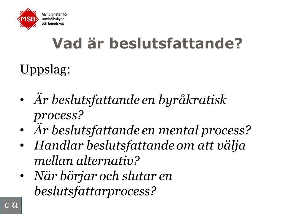 Vad är beslutsfattande. C U Uppslag: Är beslutsfattande en byråkratisk process.