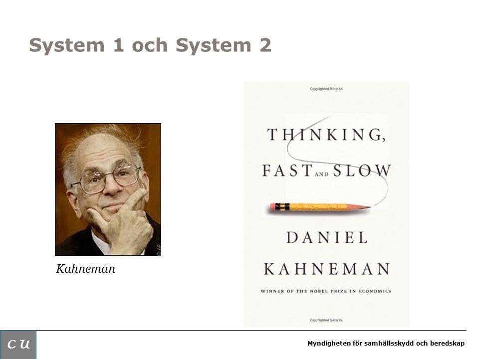 Myndigheten för samhällsskydd och beredskap System 1 och System 2 Kahneman C U