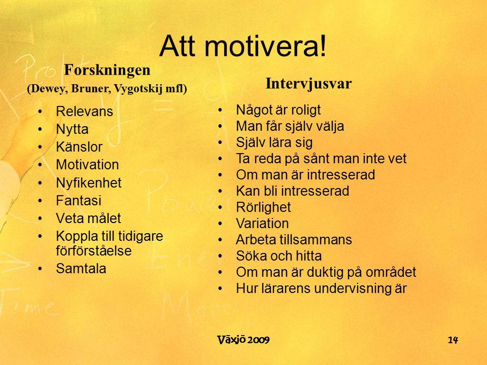 Växjö 2009 Att motivera.
