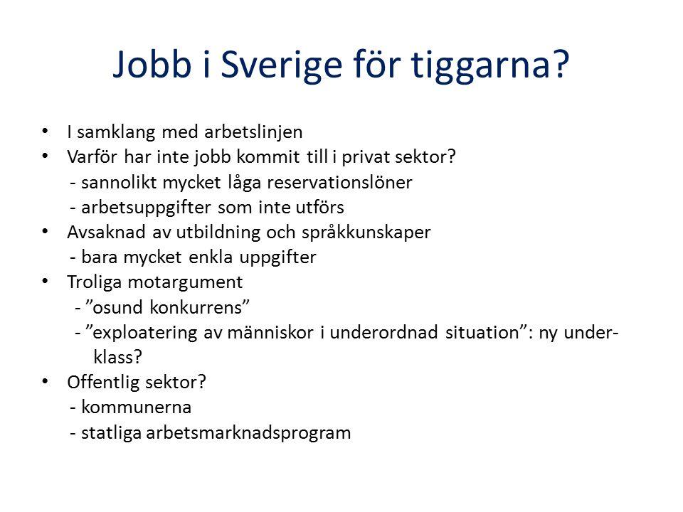 Jobb i Sverige för tiggarna? I samklang med arbetslinjen Varför har inte jobb kommit till i privat sektor? - sannolikt mycket låga reservationslöner -
