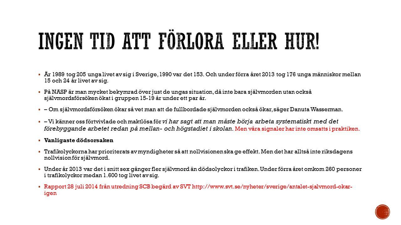  Är 1989 tog 205 unga livet av sig i Sverige, 1990 var det 153.