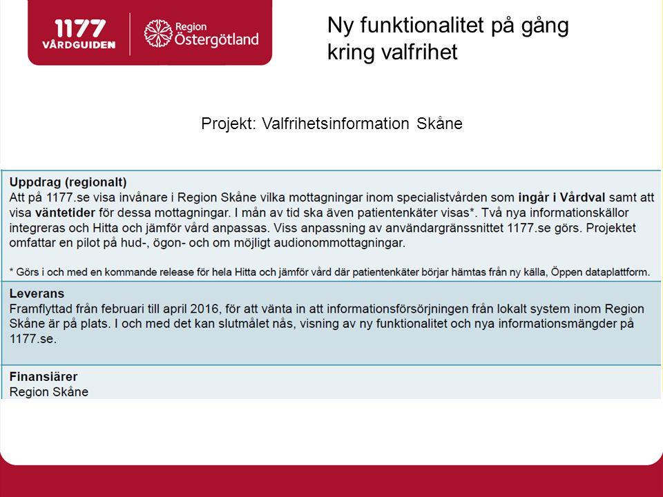 Projekt: Valfrihetsinformation Skåne Ny funktionalitet på gång kring valfrihet