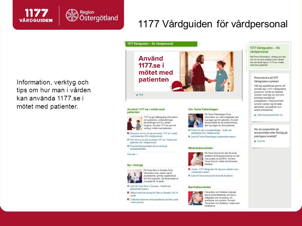 Information, verktyg och tips om hur man i vården kan använda 1177.se i mötet med patienter.