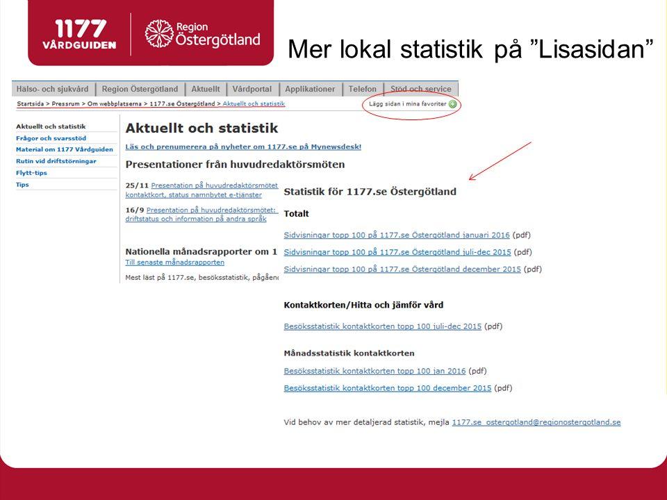 Mer lokal statistik på Lisasidan