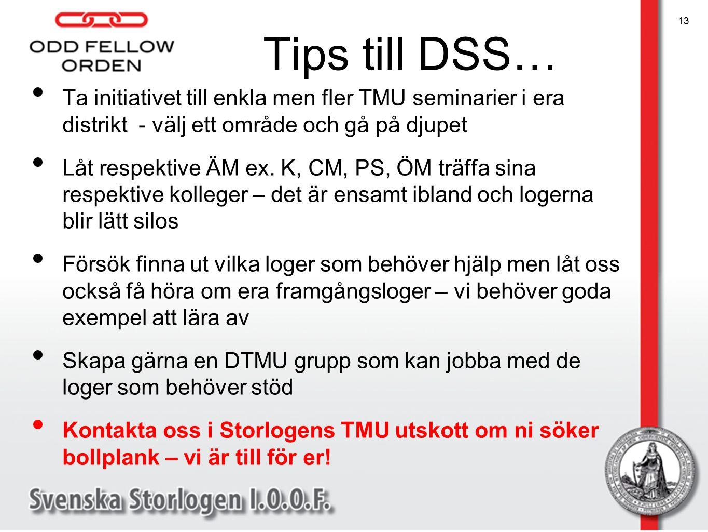 Tips till DSS… Ta initiativet till enkla men fler TMU seminarier i era distrikt - välj ett område och gå på djupet Låt respektive ÄM ex. K, CM, PS, ÖM