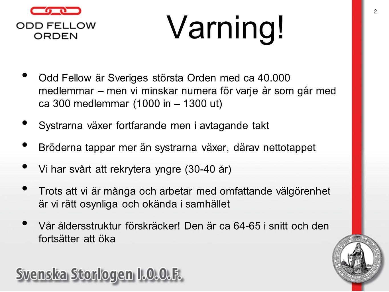Varning! Odd Fellow är Sveriges största Orden med ca 40.000 medlemmar – men vi minskar numera för varje år som går med ca 300 medlemmar (1000 in – 130