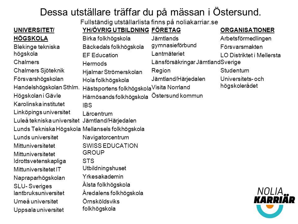Dessa utställare träffar du på mässan i Östersund. Fullständig utställarlista finns på noliakarriar.se UNIVERSITET/ HÖGSKOLA Blekinge tekniska högskol