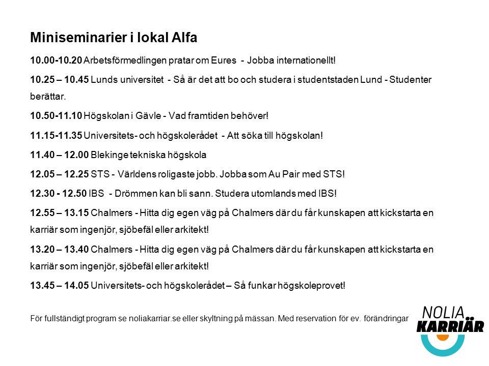 Miniseminarier i lokal Alfa 10.00-10.20 Arbetsförmedlingen pratar om Eures - Jobba internationellt! 10.25 – 10.45 Lunds universitet - Så är det att bo
