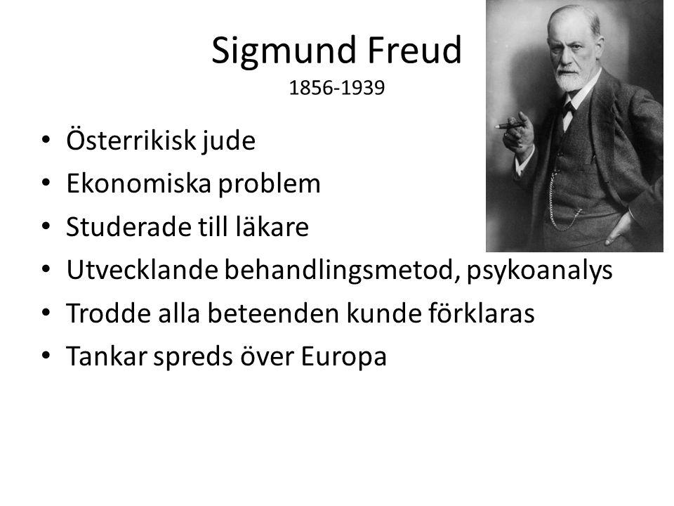 Sigmund Freud 1856-1939 Österrikisk jude Ekonomiska problem Studerade till läkare Utvecklande behandlingsmetod, psykoanalys Trodde alla beteenden kunde förklaras Tankar spreds över Europa