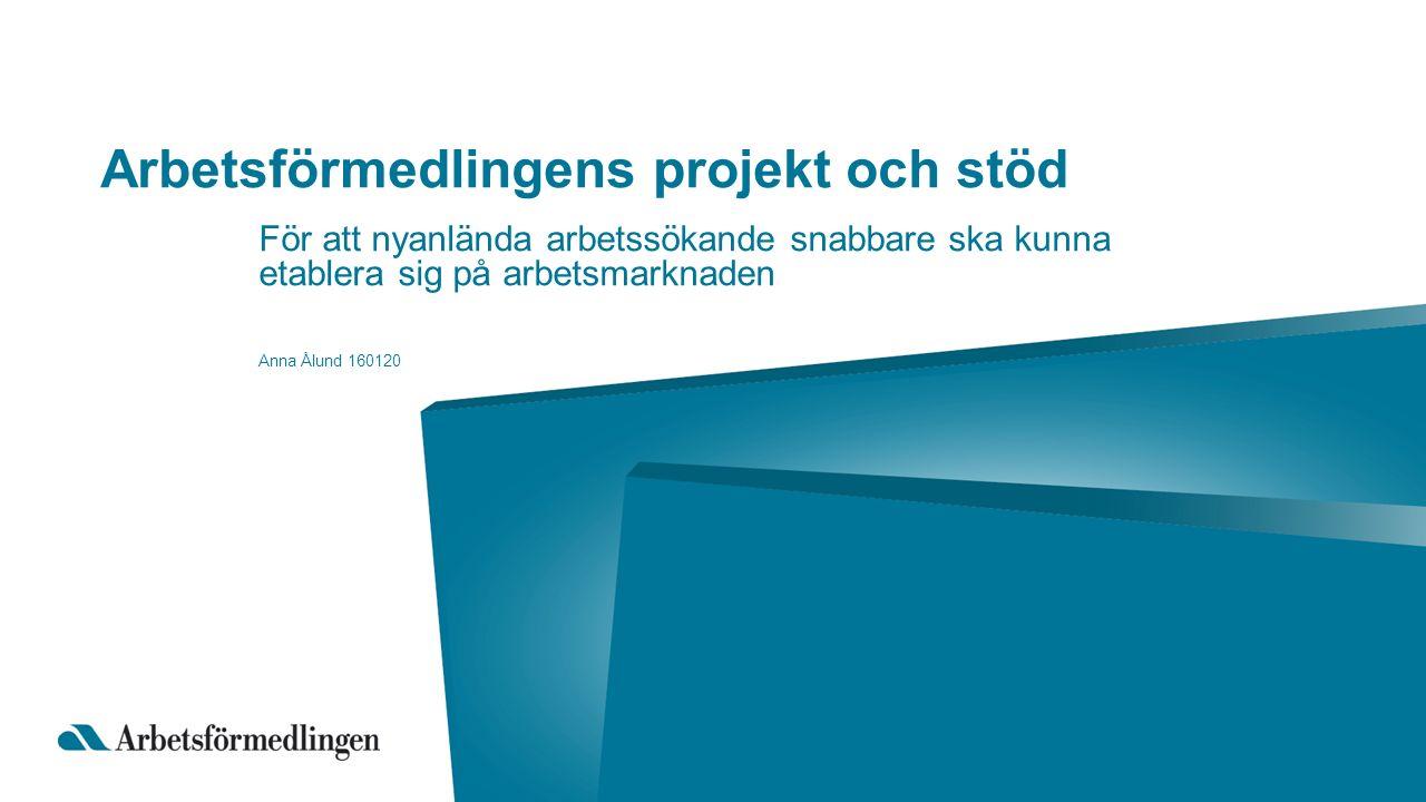 Arbetsförmedlingens projekt och stöd För att nyanlända arbetssökande snabbare ska kunna etablera sig på arbetsmarknaden Anna Ålund 160120