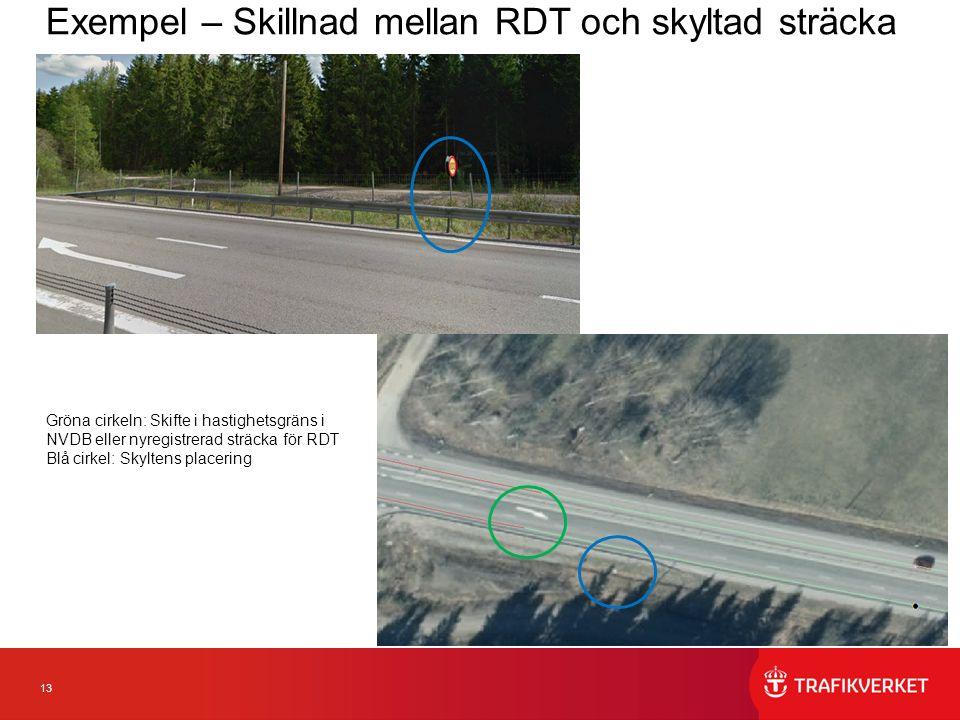 13 Exempel – Skillnad mellan RDT och skyltad sträcka Gröna cirkeln: Skifte i hastighetsgräns i NVDB eller nyregistrerad sträcka för RDT Blå cirkel: Skyltens placering
