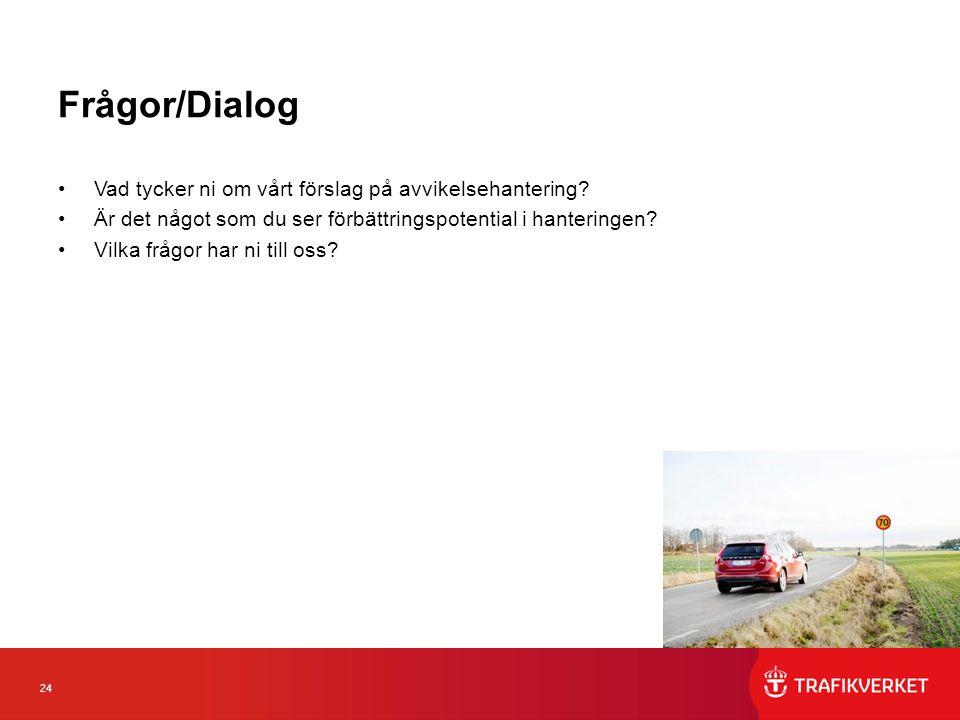 24 Frågor/Dialog Vad tycker ni om vårt förslag på avvikelsehantering.