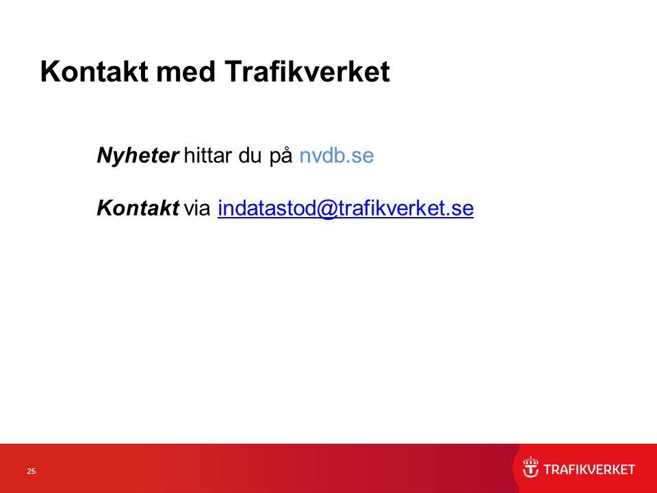 25 Kontakt med Trafikverket Nyheter hittar du på nvdb.se Kontakt via indatastod@trafikverket.seindatastod@trafikverket.se