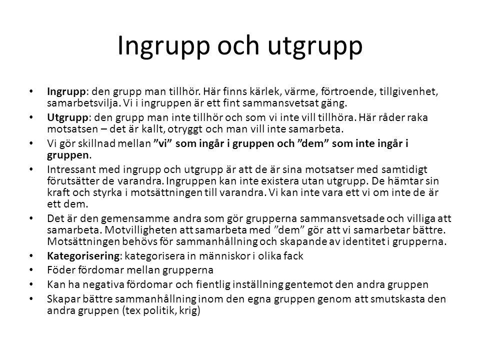 Ingrupp och utgrupp Ingrupp: den grupp man tillhör.
