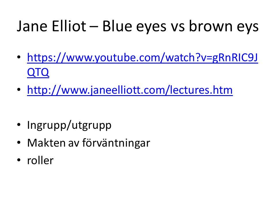 Jane Elliot – Blue eyes vs brown eys https://www.youtube.com/watch?v=gRnRIC9J QTQ https://www.youtube.com/watch?v=gRnRIC9J QTQ http://www.janeelliott.com/lectures.htm Ingrupp/utgrupp Makten av förväntningar roller