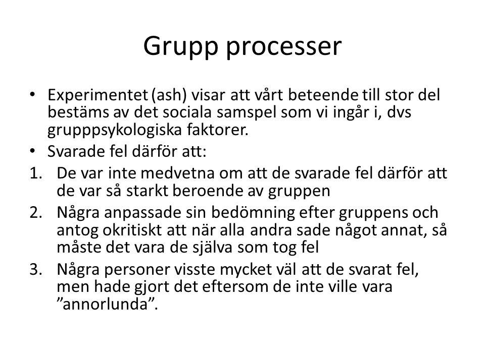 Grupp processer Experimentet (ash) visar att vårt beteende till stor del bestäms av det sociala samspel som vi ingår i, dvs grupppsykologiska faktorer
