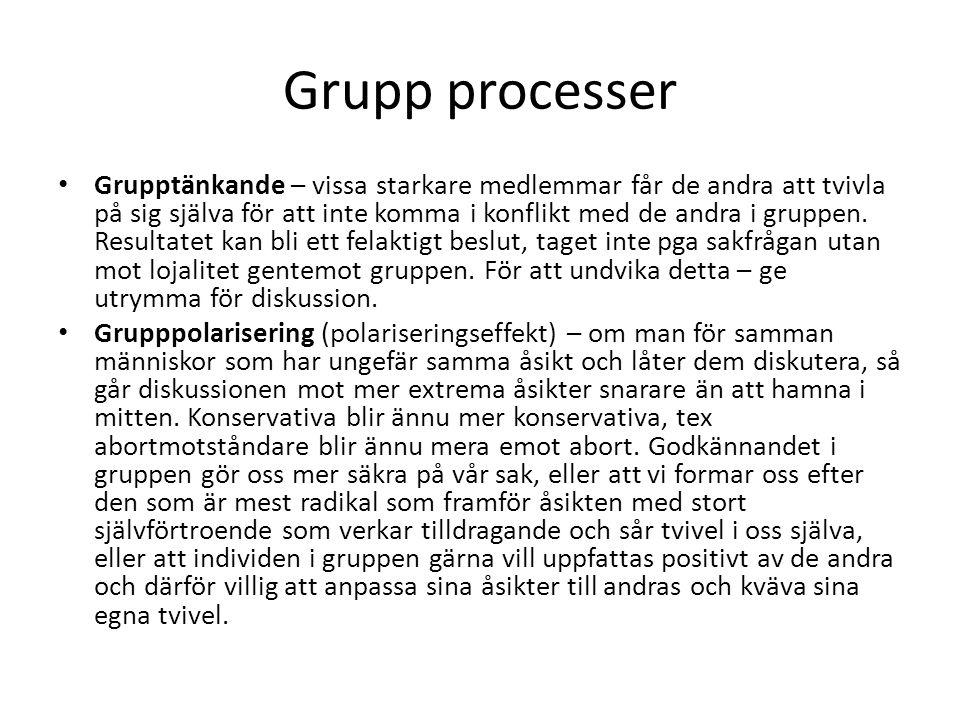 Grupp processer Grupptänkande – vissa starkare medlemmar får de andra att tvivla på sig själva för att inte komma i konflikt med de andra i gruppen. R