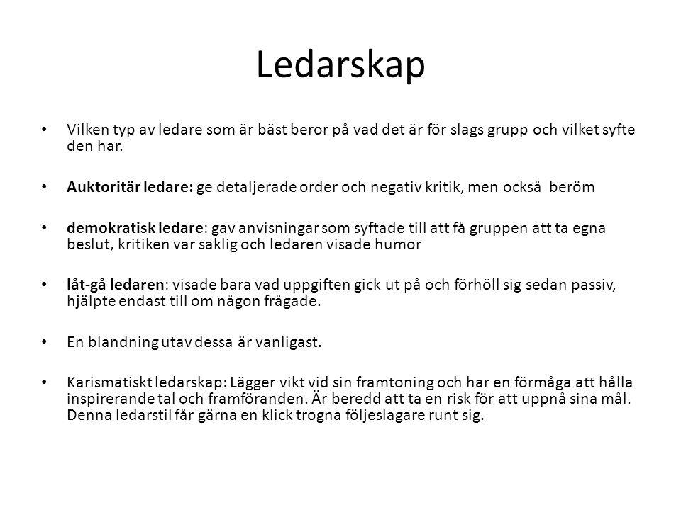 Ledarskap Vilken typ av ledare som är bäst beror på vad det är för slags grupp och vilket syfte den har. Auktoritär ledare: ge detaljerade order och n