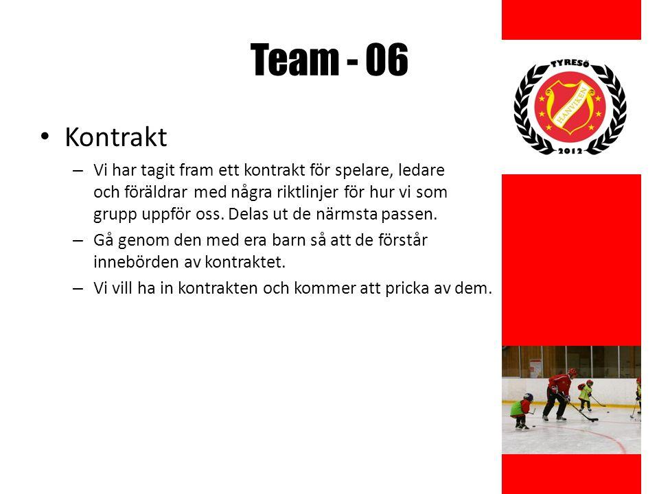 Team - 06 Kontrakt – Vi har tagit fram ett kontrakt för spelare, ledare och föräldrar med några riktlinjer för hur vi som grupp uppför oss.