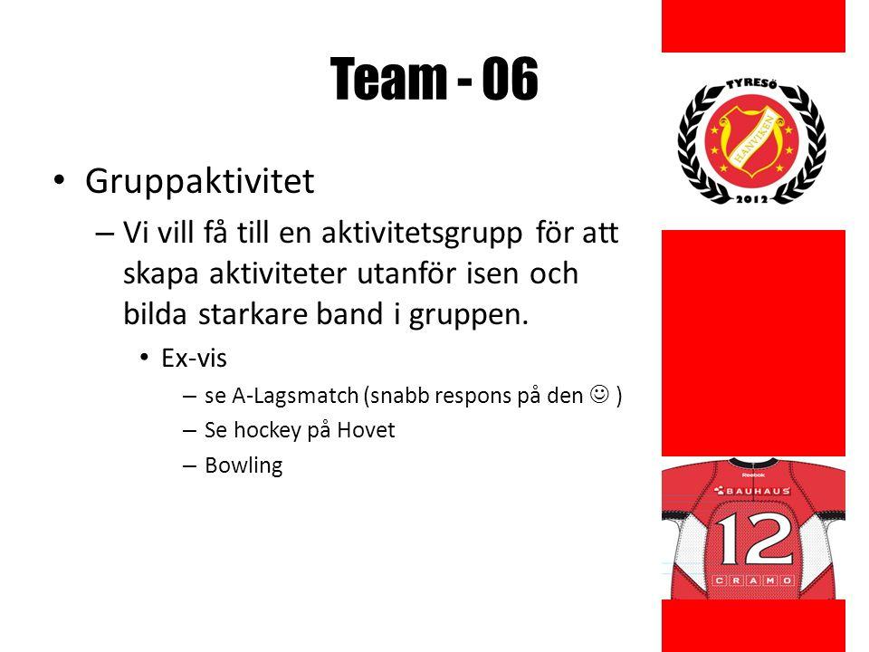 Team - 06 Gruppaktivitet – Vi vill få till en aktivitetsgrupp för att skapa aktiviteter utanför isen och bilda starkare band i gruppen.