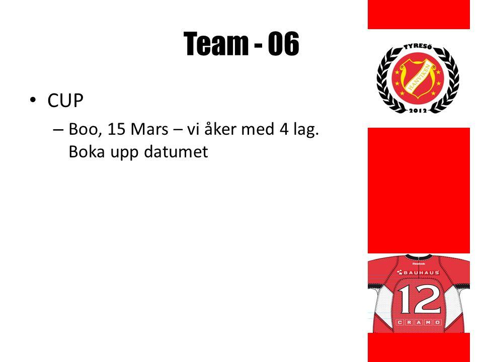 Team - 06 CUP – Boo, 15 Mars – vi åker med 4 lag. Boka upp datumet