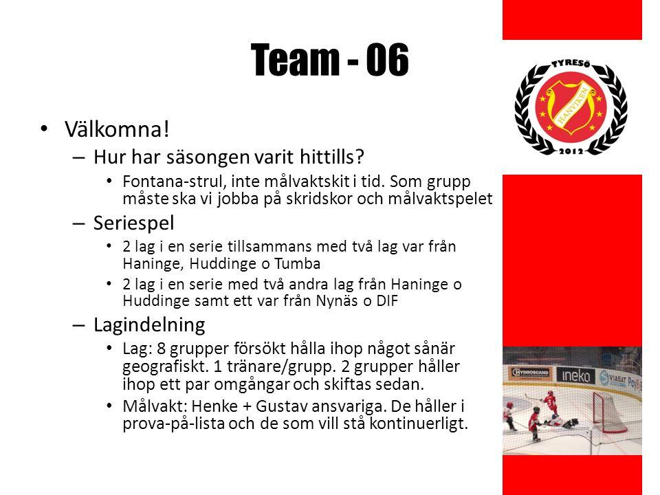 Team - 06 Kallelser – Matcher Svara på kallelsen / kontakta ansvarig tränare vid förhinder – Träning Inga kallelser mailas ut.