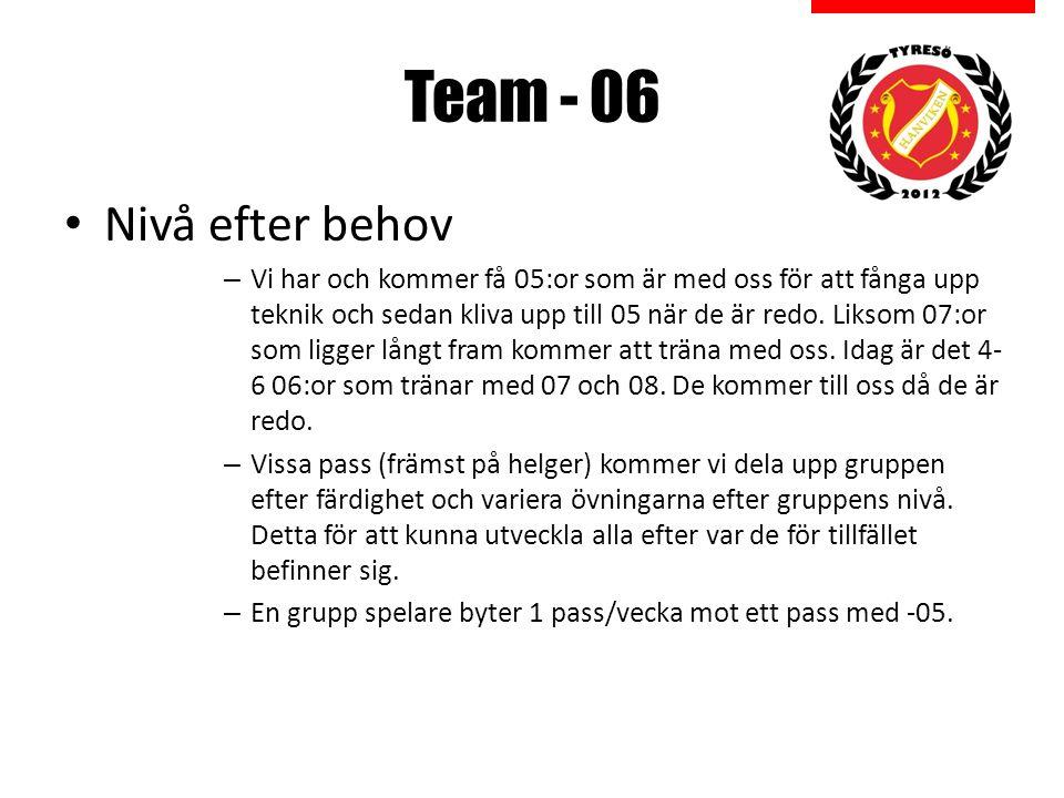 Team - 06 Nivå efter behov – Vi har och kommer få 05:or som är med oss för att fånga upp teknik och sedan kliva upp till 05 när de är redo.