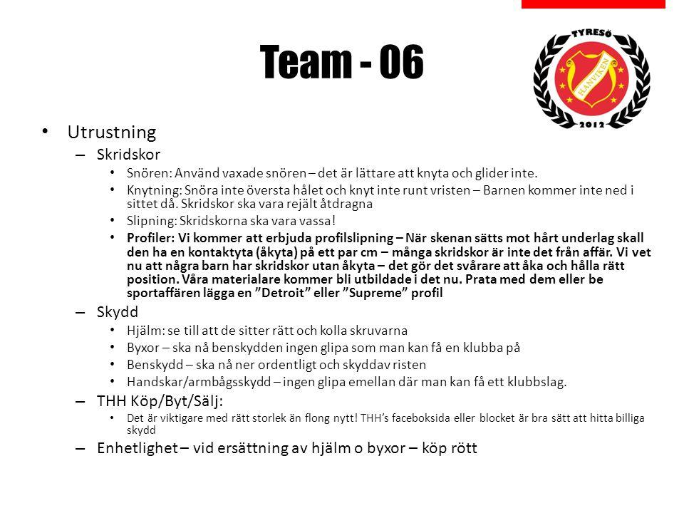 Team - 06 Utrustning – Skridskor Snören: Använd vaxade snören – det är lättare att knyta och glider inte.