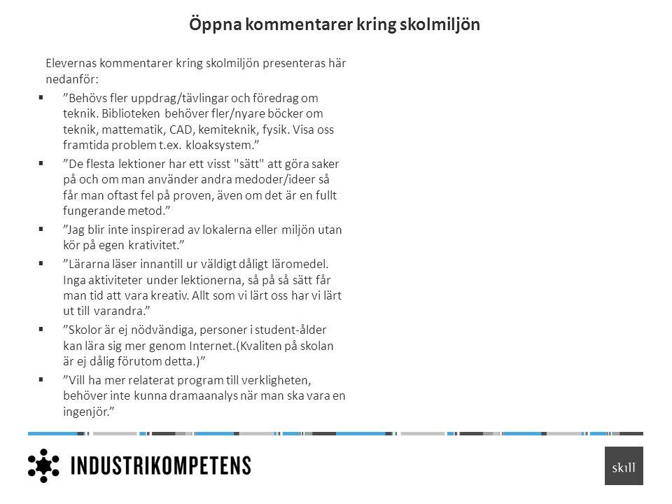Öppna kommentarer kring skolmiljön Elevernas kommentarer kring skolmiljön presenteras här nedanför:  Behövs fler uppdrag/tävlingar och föredrag om teknik.