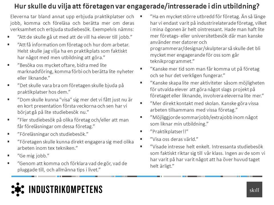 Hur skulle du vilja att företagen var engagerade/intresserade i din utbildning? Eleverna tar bland annat upp erbjuda praktikplatser och jobb, komma oc