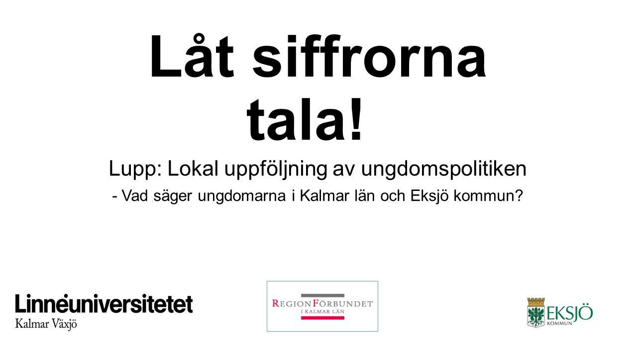 Låt siffrorna tala! Lupp: Lokal uppföljning av ungdomspolitiken - Vad säger ungdomarna i Kalmar län och Eksjö kommun?