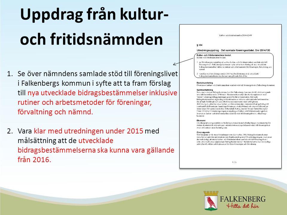 Uppdrag från kultur- och fritidsnämnden 1.Se över nämndens samlade stöd till föreningslivet i Falkenbergs kommun i syfte att ta fram förslag till nya utvecklade bidragsbestämmelser inklusive rutiner och arbetsmetoder för föreningar, förvaltning och nämnd.