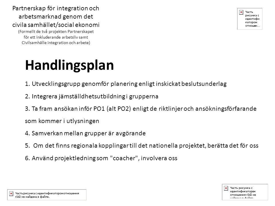 Handlingsplan 1. Utvecklingsgrupp genomför planering enligt inskickat beslutsunderlag 2.