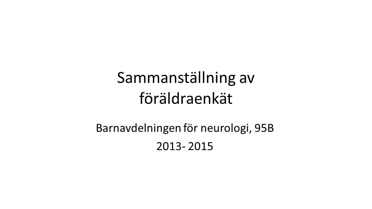 Sammanställning av föräldraenkät Barnavdelningen för neurologi, 95B 2013- 2015