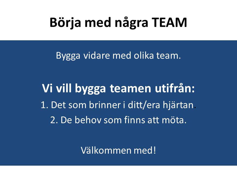 Börja med några TEAM Bygga vidare med olika team. Vi vill bygga teamen utifrån: 1.