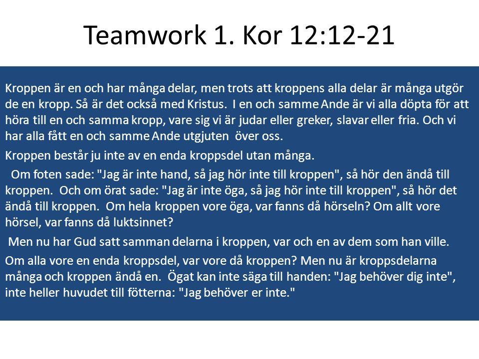 Ett team består av fler människor, mer resurser, mer idekapital och arbetssatser än vad en enskild individ skulle uppbringa Ett team maximerar potentialen och minimerar svagheter.