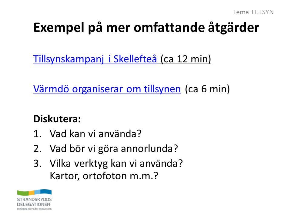 Tema TILLSYN Exempel på mer omfattande åtgärder Tillsynskampanj i SkellefteåTillsynskampanj i Skellefteå (ca 12 min) Värmdö organiserar om tillsynenVärmdö organiserar om tillsynen (ca 6 min) Diskutera: 1.Vad kan vi använda.