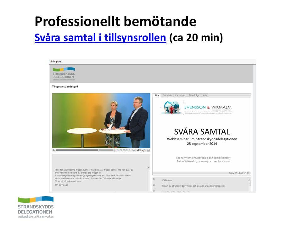 Professionellt bemötande Svåra samtal i tillsynsrollen (ca 20 min) Svåra samtal i tillsynsrollen