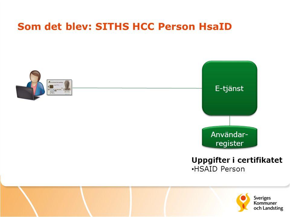 Som det blev: SITHS HCC Person HsaID Uppgifter i certifikatet HSAID Person E-tjänst Användar- register