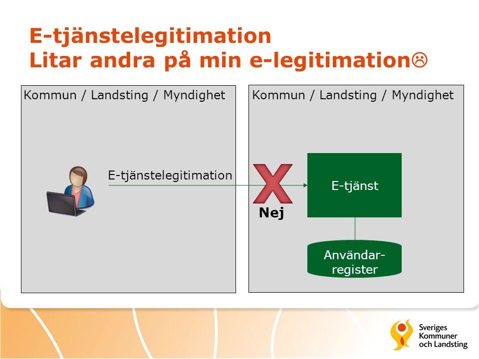 E-tjänstelegitimation Litar andra på min e-legitimation  E-tjänst Kommun / Landsting / Myndighet E-tjänstelegitimation Användar- register Nej