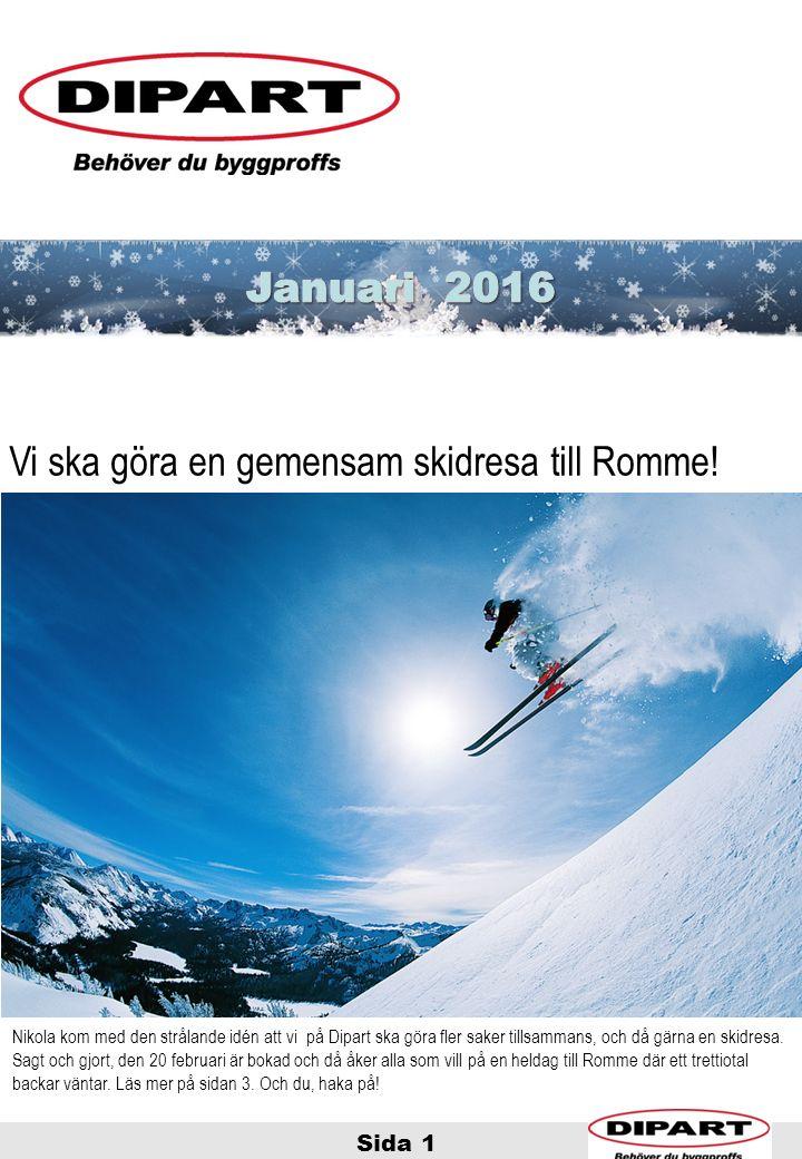 Sida 1 God Jul! Vi ska göra en gemensam skidresa till Romme! Nikola kom med den strålande idén att vi på Dipart ska göra fler saker tillsammans, och d