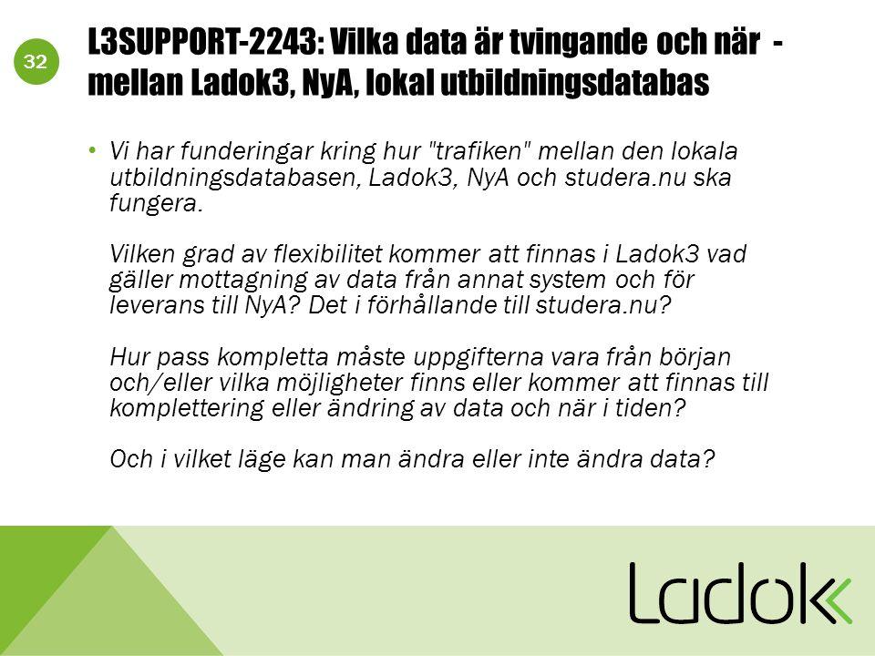32 L3SUPPORT-2243: Vilka data är tvingande och när - mellan Ladok3, NyA, lokal utbildningsdatabas Vi har funderingar kring hur trafiken mellan den lokala utbildningsdatabasen, Ladok3, NyA och studera.nu ska fungera.