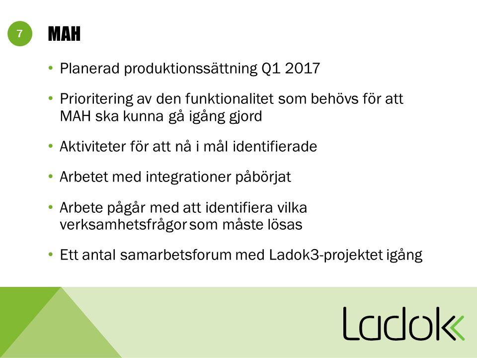 7 MAH Planerad produktionssättning Q1 2017 Prioritering av den funktionalitet som behövs för att MAH ska kunna gå igång gjord Aktiviteter för att nå i mål identifierade Arbetet med integrationer påbörjat Arbete pågår med att identifiera vilka verksamhetsfrågor som måste lösas Ett antal samarbetsforum med Ladok3-projektet igång
