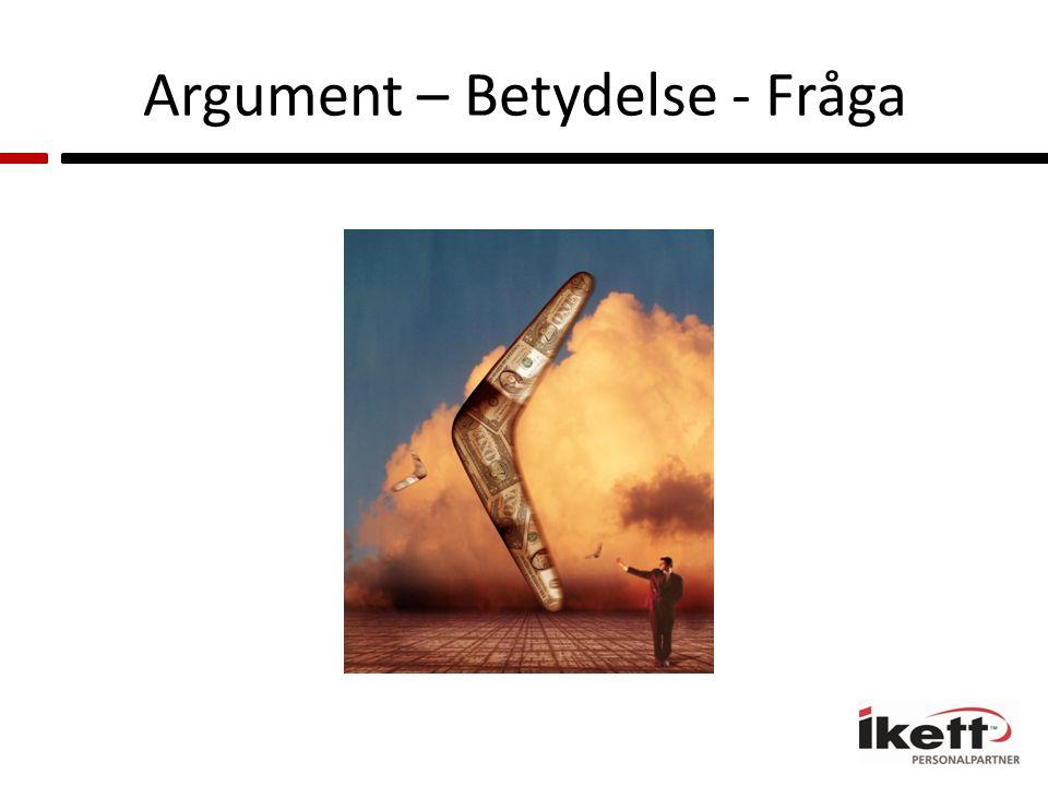 Argument – Betydelse - Fråga