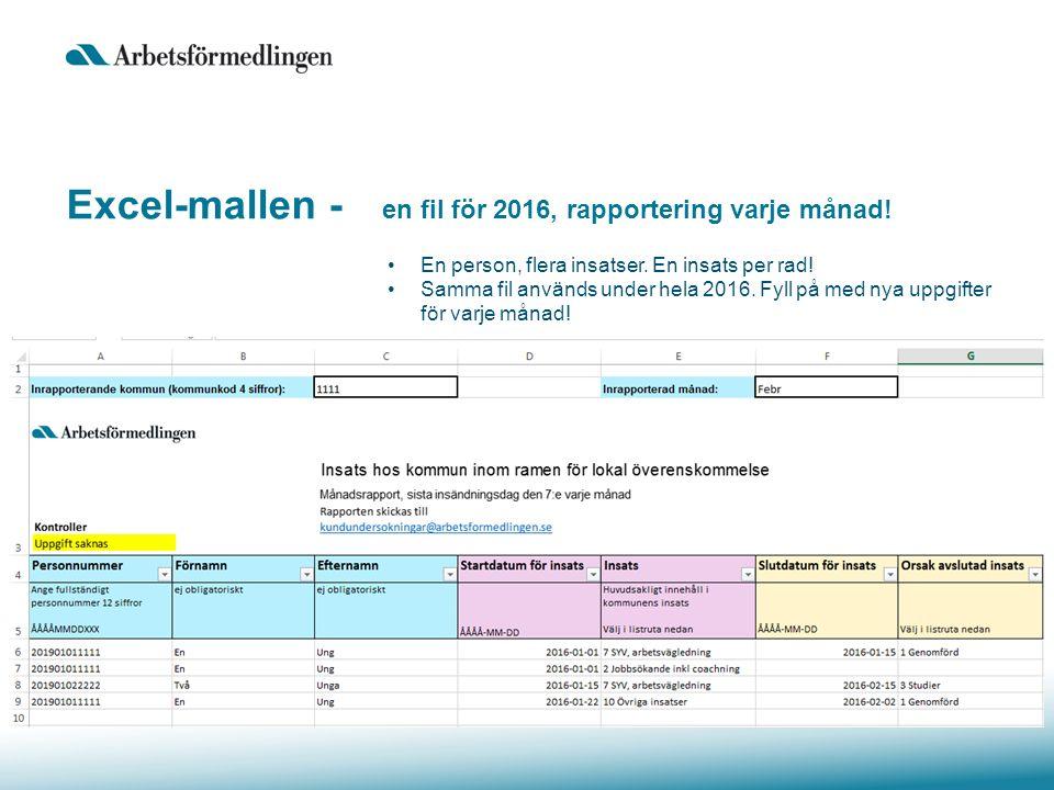 Excel-mallen - en fil för 2016, rapportering varje månad.