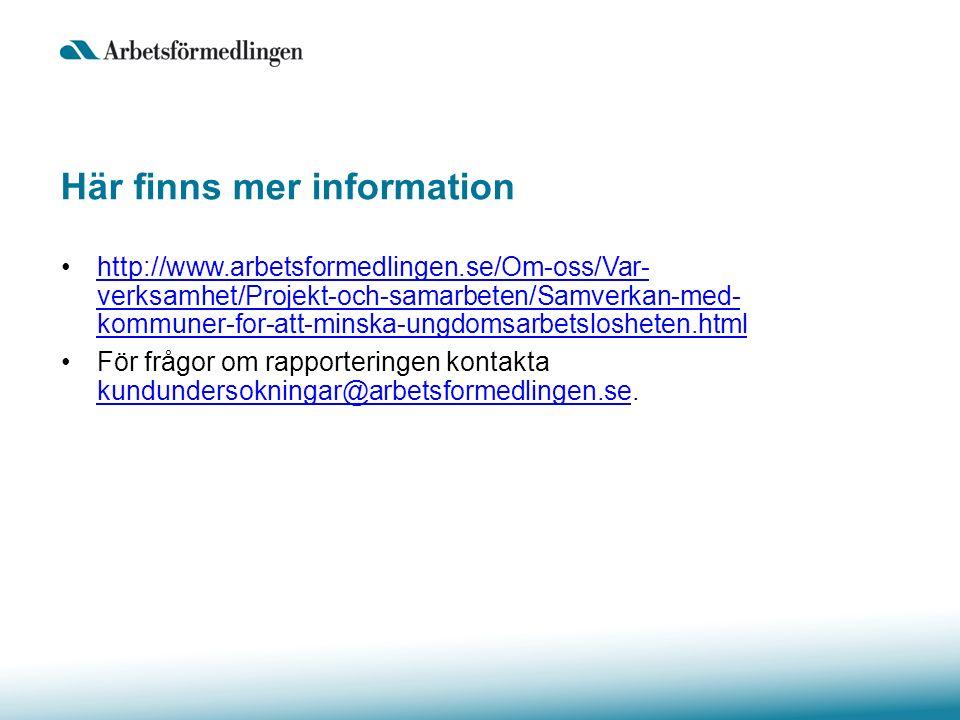 Här finns mer information http://www.arbetsformedlingen.se/Om-oss/Var- verksamhet/Projekt-och-samarbeten/Samverkan-med- kommuner-for-att-minska-ungdomsarbetslosheten.htmlhttp://www.arbetsformedlingen.se/Om-oss/Var- verksamhet/Projekt-och-samarbeten/Samverkan-med- kommuner-for-att-minska-ungdomsarbetslosheten.html För frågor om rapporteringen kontakta kundundersokningar@arbetsformedlingen.se.