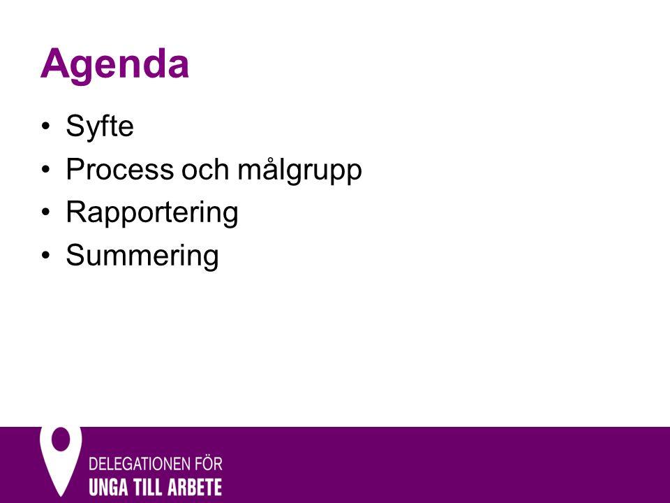 Agenda Syfte Process och målgrupp Rapportering Summering