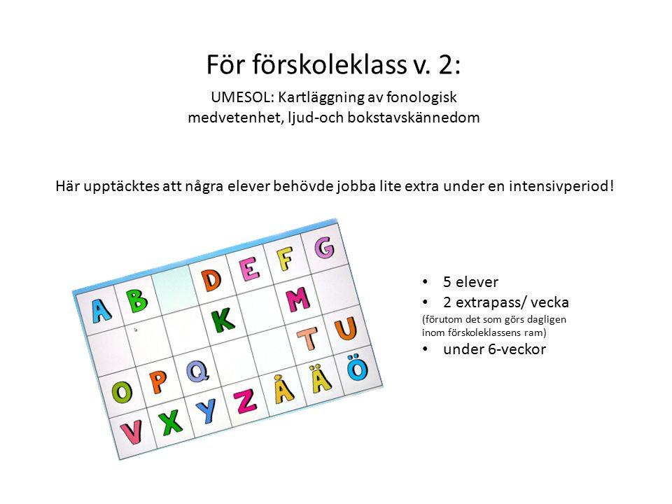 För förskoleklass v. 2: UMESOL: Kartläggning av fonologisk medvetenhet, ljud-och bokstavskännedom Här upptäcktes att några elever behövde jobba lite e