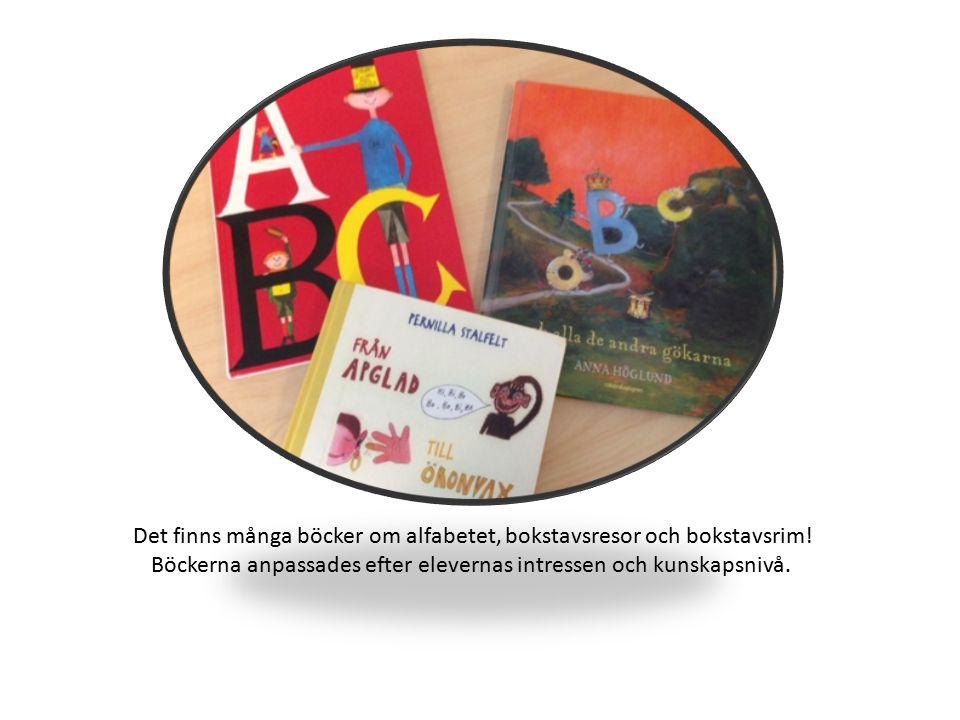 Det finns många böcker om alfabetet, bokstavsresor och bokstavsrim! Böckerna anpassades efter elevernas intressen och kunskapsnivå.